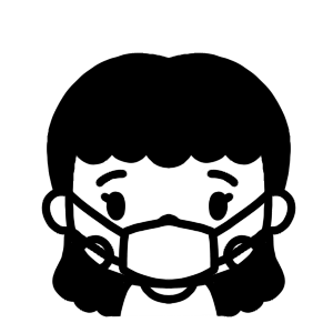マスクをする女性のモノクロアイコンイラスト