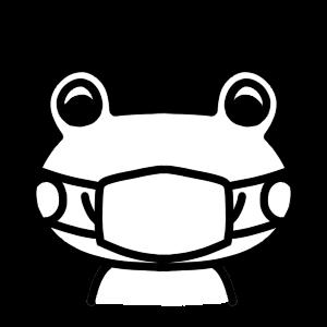 マスクをするのカエルモノクロアイコンイラスト