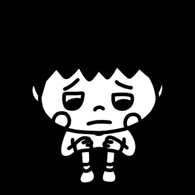 泣き顔の男の子のイラストモノクロ