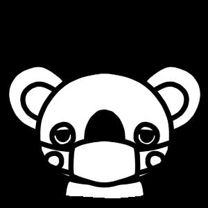 マスクをするコアラのモノクロアイコンイラスト