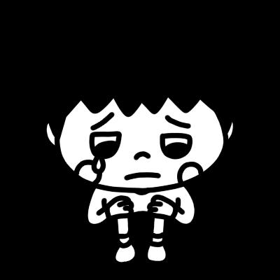 悲しい顔でつぶやく男の子モノクロ