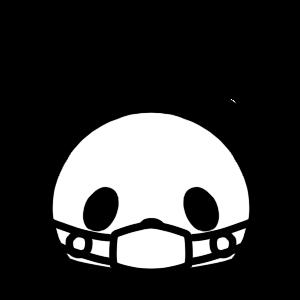 マスクをするパンダのモノクロアイコンイラスト