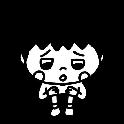 悲しい顔で何かつぶやく男の子のイラスト
