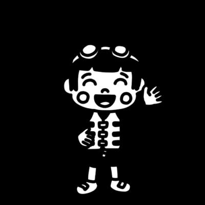 ライフベストを着た女の子のモノクロイラスト