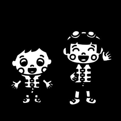 ライフベストを着た子どものモノクロイラスト