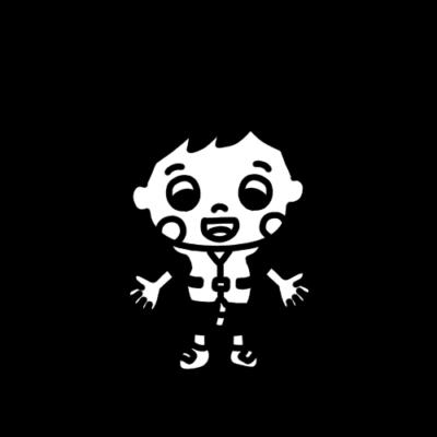 ライフベストを着た男の子のモノクロイラスト