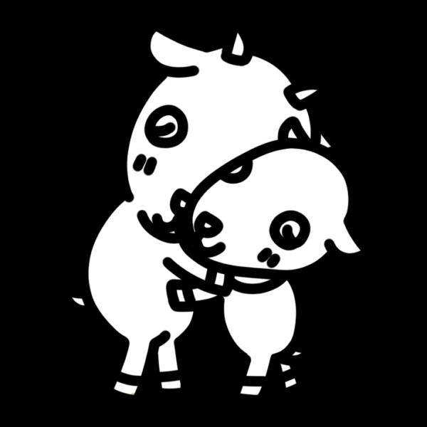 抱きしめ合うヤギの親子のモノクロイラスト