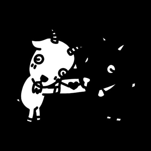 ラブレターを渡すヤギのモノクロイラスト