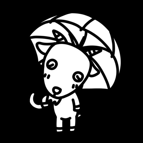 傘をさすヤギのモノクロイラスト
